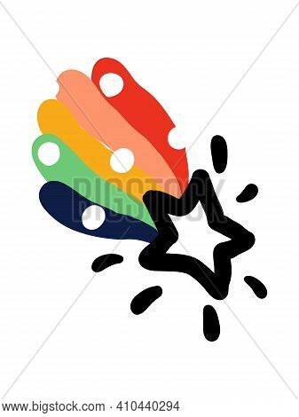 Creative Vector Illustration Of Shooting Star With Rainbow Tail. Bold And Playful Design For Cute Gr