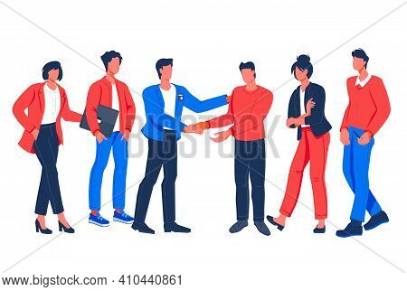 Group Of Business People And Office Colleagues Communicating And Shaking Hands, Flat Vector Illustra