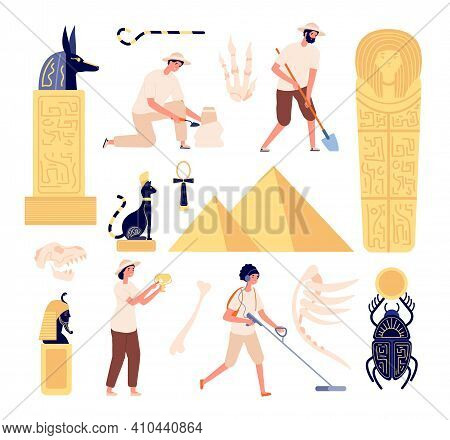 Archeology Characters. Paleontologist Discoveries Skull, Archeologists With Instruments. Flat Egypti