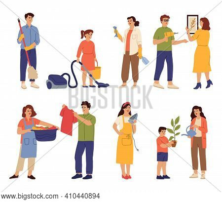 Household Characters. Baby Cleaning Vacuum, Mom Dad Washing Clothes. People Doing Housework, Woman W