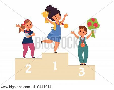 Kids Winners. Child Win Competition, Winner On Podium With Medals. Cartoon Children Victory, Champio