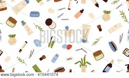 Skin Care Pattern. Women Cosmetics, Cream Lotion Bottle, Shadows Palette. Beauty Store Background, S