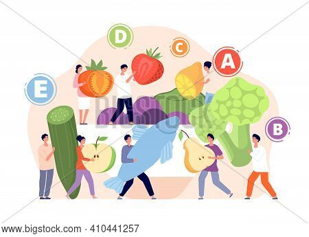 Vitamins In Food. Healthy Foods, Vitamin Balance In Nutrition. Tasty Meals, Cartoon Fresh Eco Diet.