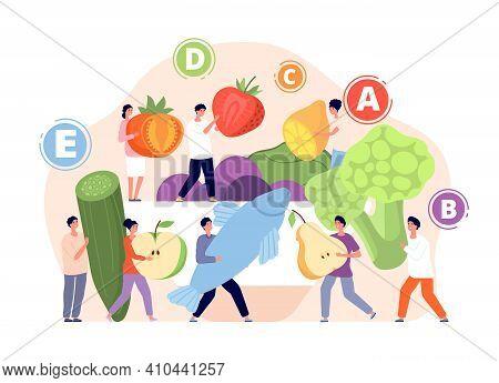 Vitamins In Food. Healthy Foods, Vitamin Balance In Nutrition. Tasty Meals, Cartoon Fresh Eco Diet.