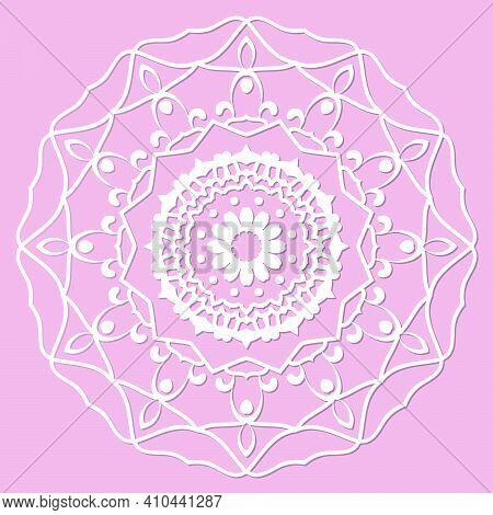 Mandala, Lace Paper Doily, Embossed Pattern, 3d, Round Element. Paper Cut Out Design, Laser Cut Temp