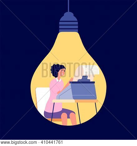 Creative Copywriting. Creativity Content, Blog Write Or Opinion Posting. Author Thinking In Light Bu