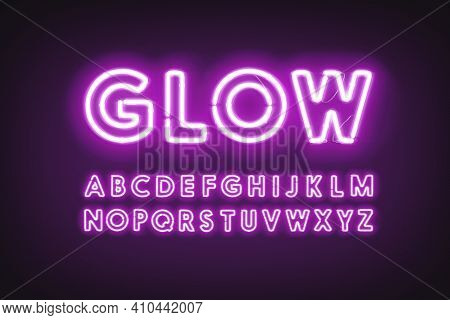 Purple Neon Capital Alphabet Letters, Glow Ultraviolet Font, 3d Rendering. Illuminated Led Character