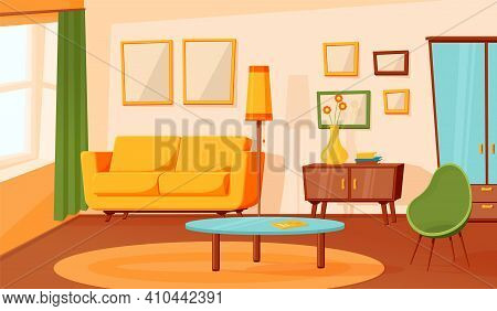 Cartoon Living Room Interior. Flat Empty Sofa, Indoor Area Design. Modern Apartment Hall With Furnit