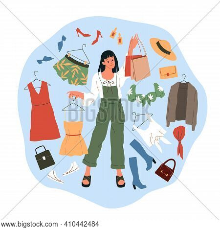 Shopping Woman. Cartoon Girl Buys Wear, Dresses And Shoes, Big Fashion Shop Sales, Clothing Circle S