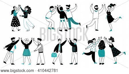 People High Five. Friendship Day, Line Cartoon Happy Women Friends. Business Partners, Team Support