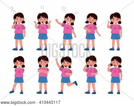 Girl Emotions Set. Emotional Kid Character In Different Poses, Feelings Expression, Mood Options, Bo