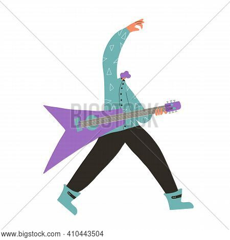 Guitarist Performing Isolated On White Background. Rock Musician Playing Guitar Scene. Vector Flat C
