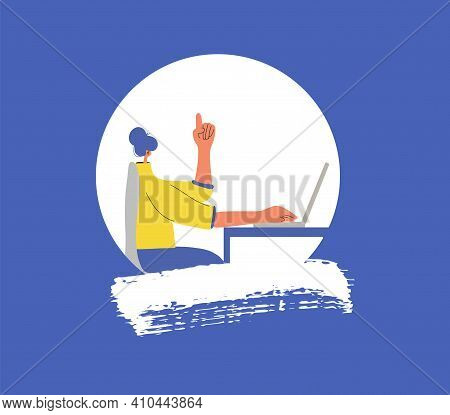 Smart Woman Icon. Character Working On Computer And Have An Idea. P.female Person Using Laptop. Vect