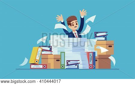 Unorganized Office Work. Accounting Paper Documents, Folders And Boxes Piles, Man Sitting At Table W