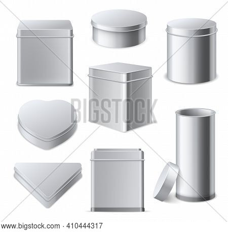 Tin Boxes. Realistic 3d Square, Cylinder And Round Metallic Containers With Lid, Tea And Cookies Gif