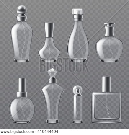 Realistic Perfume Bottle. Transparent Empty Bottles Various Shapes, Glass Containers With Dispenser