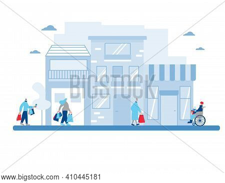 Different Characters With Shopping Bags Hurrying To Store For A Sale. People Walking In The Street.