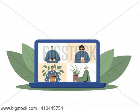 Indoor Plants Lovers Online Conference. Persons Wearing In Casual Clothes Holding In Hands Potted Fl