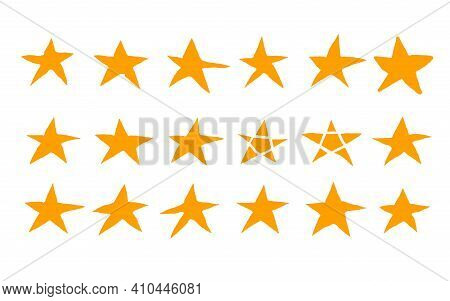 Stars Set In Doodle Style. Collection Of Simle Elements. Hand Drawn Symbols In Various Shapes Design