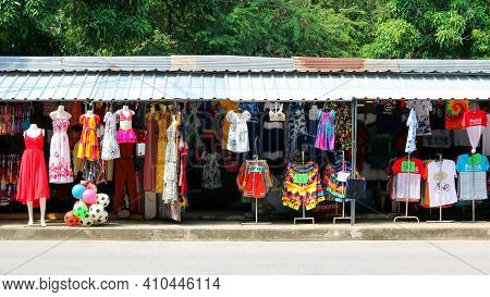 Phetchaburi, Thailand - December 30, 2018 : Clothing And Swimwear Store Is Colorful Beside The Road