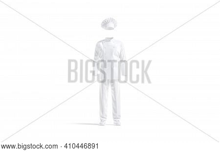 Blank White Chef Uniform Mockup, Front View, 3d Rendering. Empty Chief Suit With Toque, Jacket, Pant