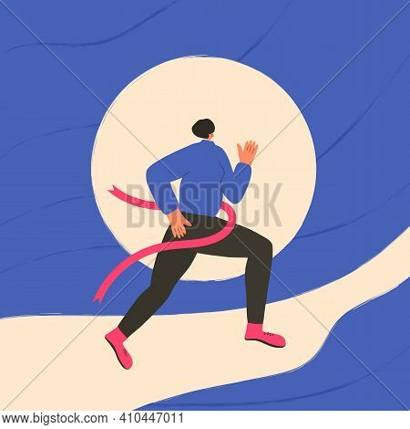 Running Girl. Young Woman In Fashionable Sportwear Jogging. Female Runner. Sporty Person Vector Flat