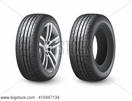 Realistic Shining Disk Car Wheel Tyre Isolated Vector Illustration