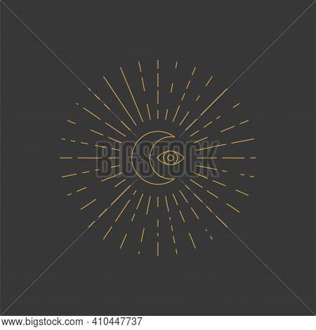 Moon And Eye With Rays, Mystical Geometric Sacred Symbol. Astrological Print. Vector Illustration. T