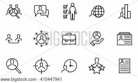 Headhunting Linear Icon. Human Resources Management, Recruitment Process Thin Line Customizable Illu