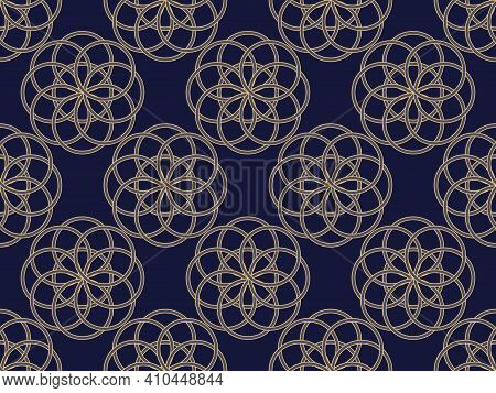 Art Deco Seamless Pattern. Classic Geometric Retro Ornament In Gold And Black In The Style Of The 19