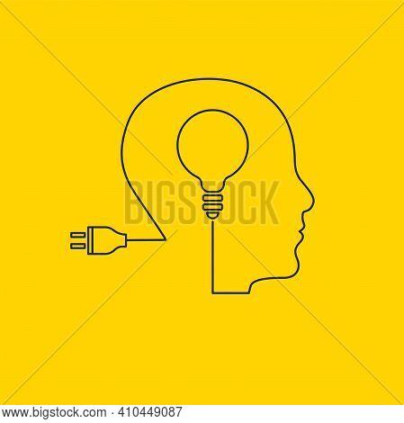 Brain Activity, Brainstorming Concept. Light Bulb In Mans Brain. Genius Vector Icon