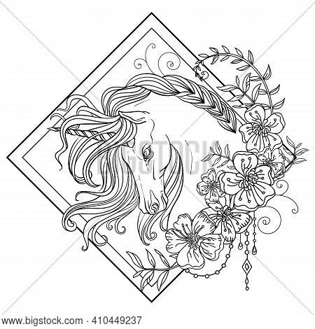 Head Of The Unicorn In Profile With A Long Mane In Floral Frame. Vector Black And White Isolated Con