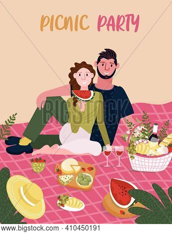 Woman With Man Sitting On Blanket. Picnic Party On The Beach. Happy Couple With Food Outdoor. Female