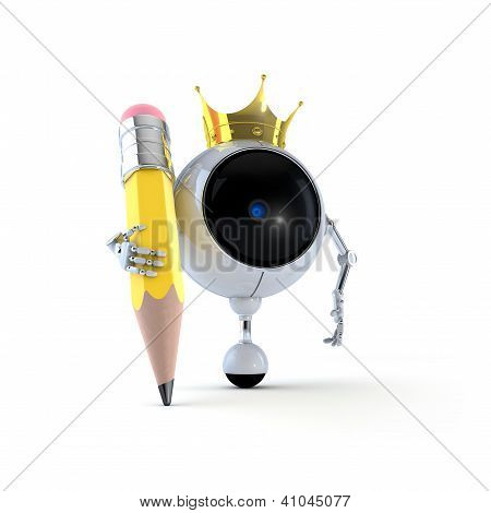 3D Illustration Robot Classic Yellow Pencil and Isolated on Background poster