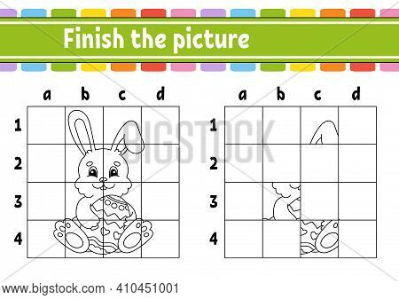 Easter Theme. Finish The Picture. Coloring Book Pages For Kids. Education Developing Worksheet. Game