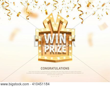 Win Prize Gift Box With Golden Retro Board Broadway Sign Vector Illustration. Winning Celebration Wi