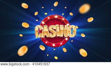 Gambling Casino Online Leisure Games Vector Illustration. Win In Gamble Game. Coins Exploding On Blu