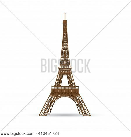 The Eiffel Tower Isolated. Flat Vector Illustration.