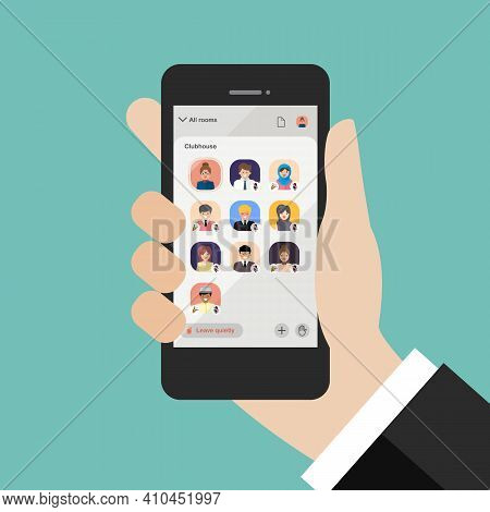 Hand Using Clubhouse Application On Smartphone. Vector Illustration