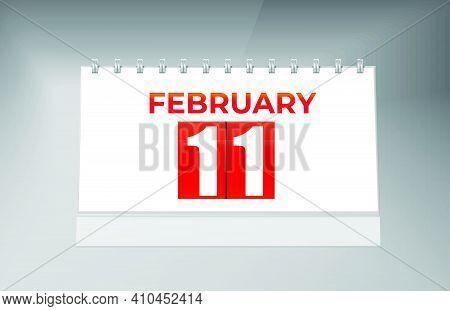 February 11 Desk Calendar Design Template. Single Date Calendar Design.