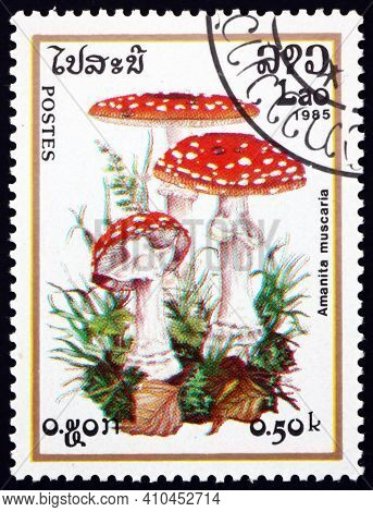 Laos - Circa 1985: A Stamp Printed In Laos Shows Fly Agaric, Amanita Muscaria, Poisonous Mushroom, C