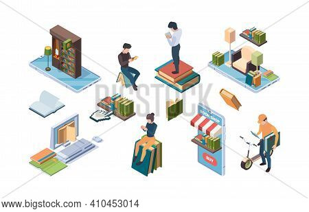 Online Library. Isometric Books People Reading Internet Dictionary Education Concept Icons Garish Ve