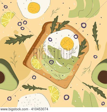 Bread, Egg, Arugula, And Avocado Seamless Pattern On A Beige Background. Healthy Breakfast Nutritiou
