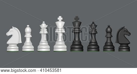 Chess Collection. Blank Figures For Chess Strategy Games Knight Queen Horse Pawn Decent Vector Reali
