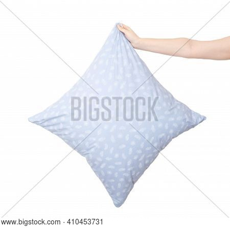 Hands Hold A Pillow For Sleeping On A White Background, Isolate. The Concept Of A Comfortable And Or