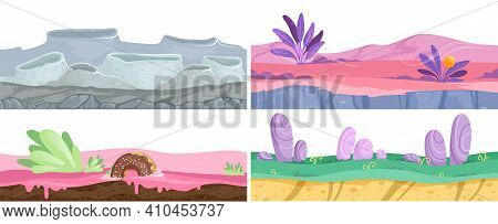 Different Grounds. Sweet Banners, Moon Landscape Fantasy Dessert. Cartoon Colorful Vector Background