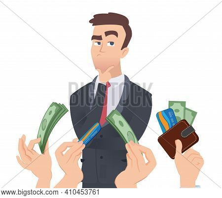 High Qualification Employee. Manager Thinking, Hands With Money. Employer Offers Salary Vector Conce