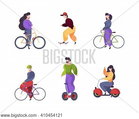 Riding People. Urban Transport Car Scooter Electric Segway Motorbike Longboard Skate Garish Vector F