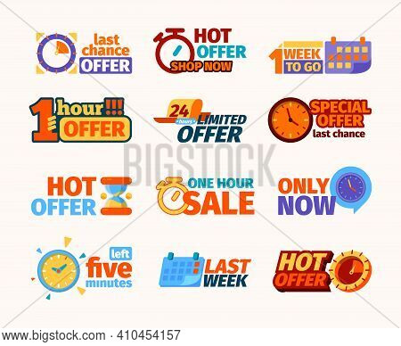 Countdown Logo. Weekly Or Daily Promotional Counters Banners For Hot Offers Or Sale Timers Date Gari