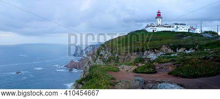 A Panorama Of Capo Da Roca Lighthouse In Portugal